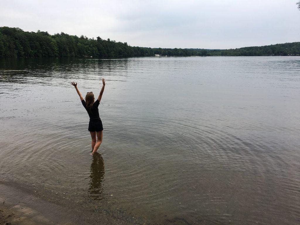 Erinn Weatherbie in lake at Kripalu